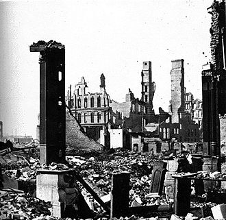 Great Chicago Fire - Aftermath of the fire, corner of Dearborn and Monroe Streets, 1871