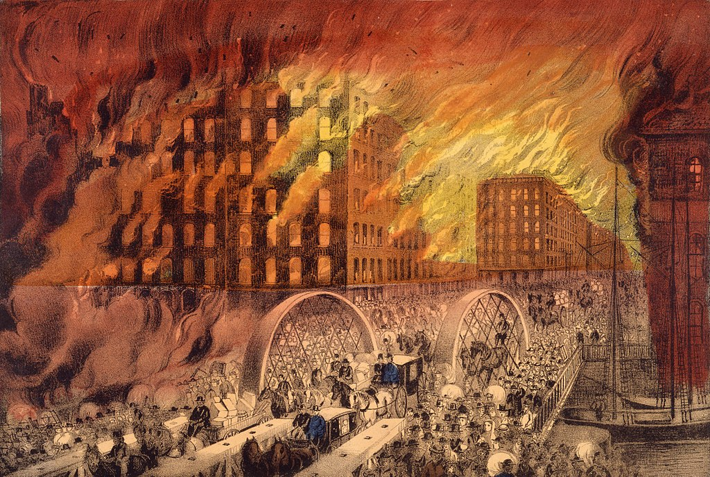 Chicago in Flames by Currier & Ives, 1871 (cropped)
