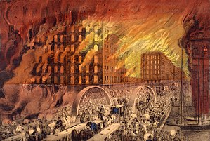 Great Chicago Fire - Artist's rendering of the fire, by Currier and Ives; the view faces northeast across the Randolph Street Bridge