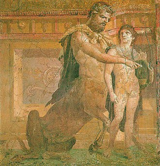 Chiron - The Education of Achilles by Chiron, fresco from Herculaneum, 1st century AD (Museo Archeologico Nazionale, Naples).