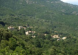 The village of Chisa, seen from the access road near Bura