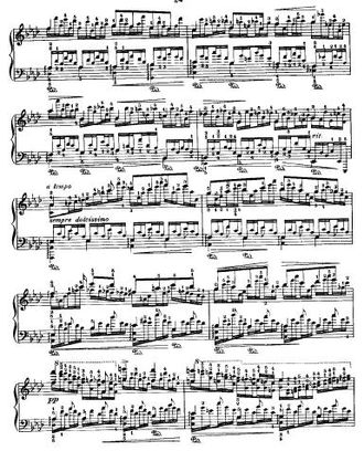 Leopold Godowsky - A page from Godowsky's highly challenging Studies on Chopin's Études (an arrangement of Op. 25, No. 1)