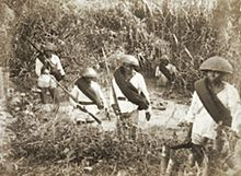 Christian Filipinos under Spanish army in Mindanao in their battle against the Moro Muslim, circa 1887.jpg