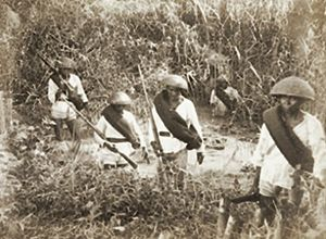 Moro conflict - Christian Filipinos, who served under the Spanish Army, searching for Moro rebels during the Spanish–Moro conflict c. 1887. The insurgency problem in Mindanao is rooted in the 1500s, when the Spanish arrived in the Moro heartland.