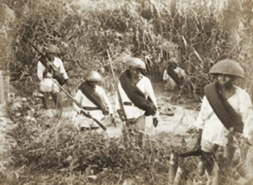 Christian Filipinos under Spanish army in Mindanao in their battle against the Moro Muslim, circa 1887