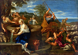 Ciro Ferri - Moses Defending the Daughters of Jethro (1660-1689). Painting by Ciro Ferri (São Paulo Museum of Art, São Paulo).