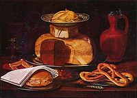Clara Peeters - Still life with cheesestack bread napkin and pretzels.jpg