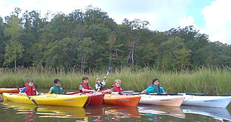 Confluence Outdoor - Students engaging in outdoor education on the York River in Perception Prodigy kayaks