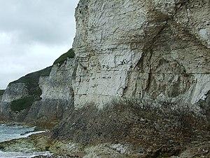 English: Cliff face, White rocks, Portrush Whi...
