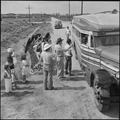 Closing of the Jerome Relocation Center, Denson, Arkansas. Transportation officials finish checking . . . - NARA - 539751.tif