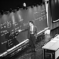 Cocconi giving a lecture in CERN's main auditorium 1967.jpg