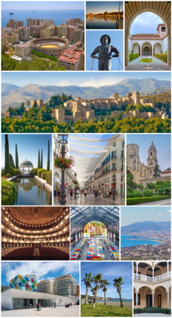 Top:Malagueta Bullring Stadium, Night view of Malaga Port, Stature of Cenachero, Patio de los Naranjos, Second:Alcazaba of Malaga, Third:La Concepcion Botanical Garden (Jardin Botanico de La Concepcion), Calle Marquos de Larios, Malaga Cathedral, Fourth:Cervantes Theater (Teatro de Cervantes), Atarazanas Market (Mercado de Atarazanas), Panoramic view of Malaga Bay, from Sierra de Mijas, Bottom:Malaga Pompidou Center Centro Pompidou de Malaga, La Caleta Beach (Playa de la Caleta), Malaga Picasso Museum (all item of left to right)