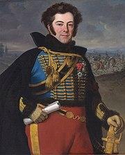 Colonel Auguste-Frederic-Bon-Amour, marquis de Talhouët by Emile-Jean-Horace Vernet