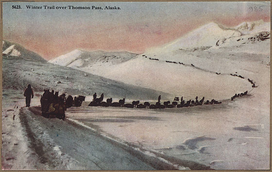 "Horse-drawn sleds crossing Thompson Pass in the early years of the 20th Century Color post card. ""Winter Trail over Thompson Pass, Alaska."" Dog Sled Teams. - NARA - 297822.jpg"