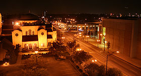 High Street downtown at night, looking north. I-670 crosses under this part of town.