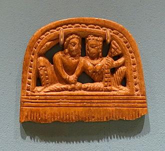 Pañcika - Comb with Pañcika and Hārītī, Kingdom of Khotan