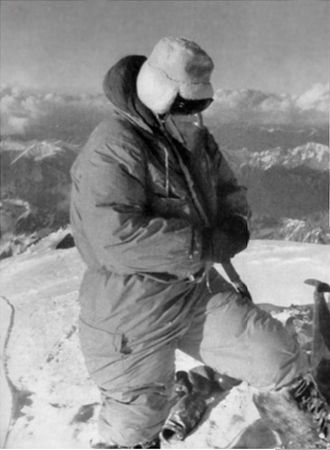 K2 - Achille Compagnoni on K2's summit on the first ascent (31 July 1954)