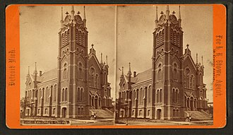 Congregational church - A Congregational church in Detroit, Michigan (1880).