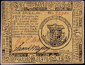 Continental Currency $1 banknote obverse (February 17, 1776).jpg