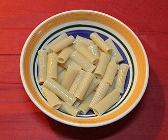 Rigatoni - Cooked small-diameter rigatoni