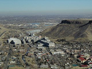 Coors Brewery and Golden, Colorado, with Denver in the background. On the right is Table Mountain. Taken from Lookout Mountain.