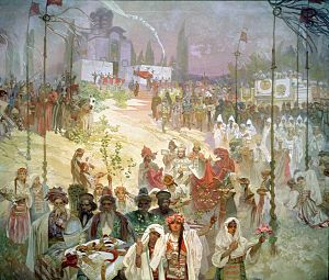 Skopje Fortress - The coronation of the Emperor Stefan Dušan in Skopje, part of the Slav Epic series by Alfons Mucha, 1926