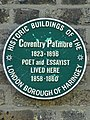 Coventry Patmore 1823-1896 Poet and Essayist Lived Here 1858-1860.jpg