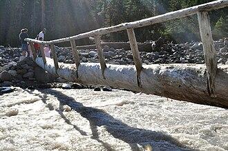 Log bridge - Image: Crossing Nisqually River near Cougar Rock 01