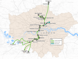 Map of the proposed Crossrail2 routes