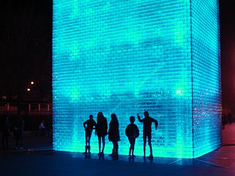 Crown Fountain - Tourists often interact with the fountain by silhouetting themselves against the fountain's lighting at night.