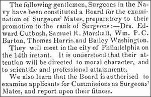 Edward Cutbush - Edward Cutbush serves on naval board, June 11, 1824