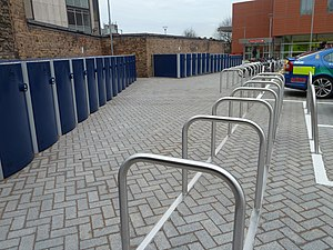 Bicycle locker - 30 Cycle-Works Velo-Safe Lockers installed at Royal London, Barts Hospital