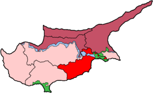 Map of Cyprus showing Larnaca district. The gr...