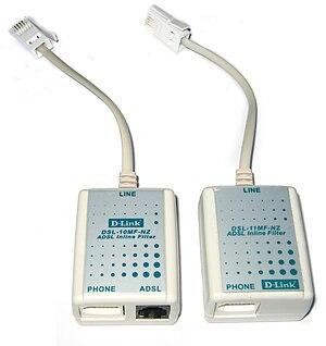 DSL filter - Modern ADSL filter/splitter (left) and filter (right)