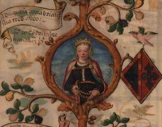 Beatriz Pereira de Alvim - Beatriz in a 1534 miniature in the Genealogy of D. Manuel Pereira, 3rd Count of Feira