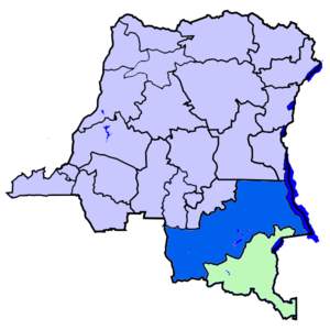 Haut-Katanga District - Location of Haut-Katanga district (light green) in extreme south of the Democratic Republic of the Congo