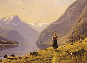 Dahl Hans (Norwegian) 1849 to 1937 By The FJord O C 49.5 by 67.3 cm.jpg