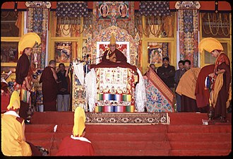 Kalachakra - The Dalai Lama presiding over the Kālacakra initiation in Bodh Gaya, India, in January 2003.