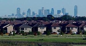Dalas skyline and suburbs