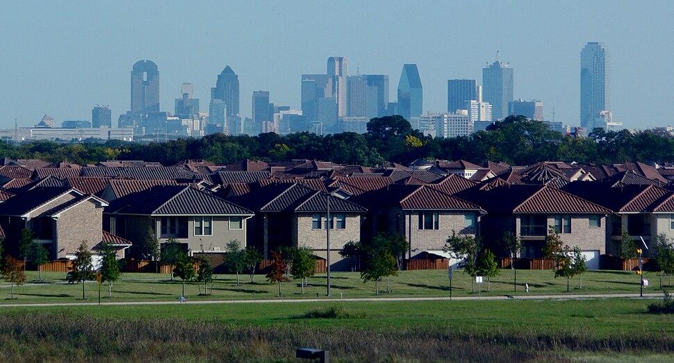 Dallas skyline and suburbs
