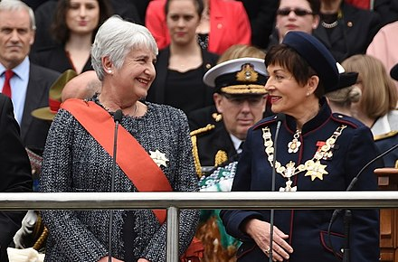 Dame Patsy Reddy with Chief Justice Dame Sian Elias at the swearing-in ceremony, 28 September 2016 Dame Patsy Reddy and Chief Justice, Dame Sian Elias.jpg