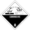 "A rhombic-shaped label with letters 8 and ""corrosive"", indicating that drops of a liquid corrode materials and human hands."