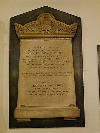Daniel Beale - Daniel Beale and Elizabeth Barbot memorial, St Pancras New Church, London