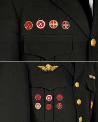 Badges of the Danish Military - Army uniform showing different ways to wear the badges