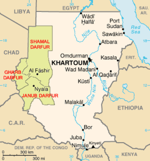 Map of Darfur, Sudan (