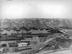 Port Jackson - Clipper ships in Darling Harbour in 1900