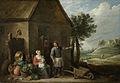 David Teniers - Een boer met zijn vrouw en kind voor de boerderij.jpg