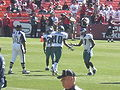 DeSean Jackson and Quintin Mikell on field pregame at Eagles at 49ers 10-12-08.JPG