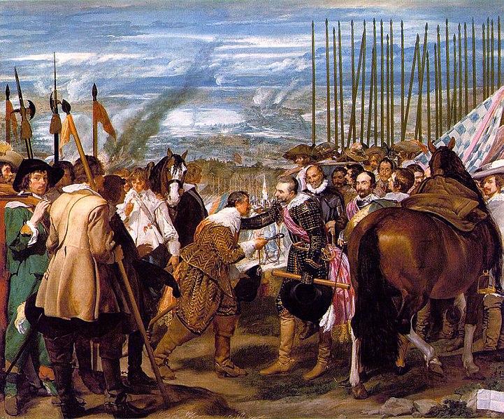 La rendición de Breda, cuadro de Velázquez, que recoge ese triunfo español de 1625 en la guerra de Flandes. Foto de la Wikipedia. Pulse para verla más grande