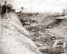 An old photograph of a sunken road filled with bodies. Soldiers stand near the road. The landscape is stark with bare and broken trees.